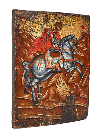 painted icon on wooden panel