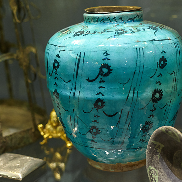 turquoise hand painted vase