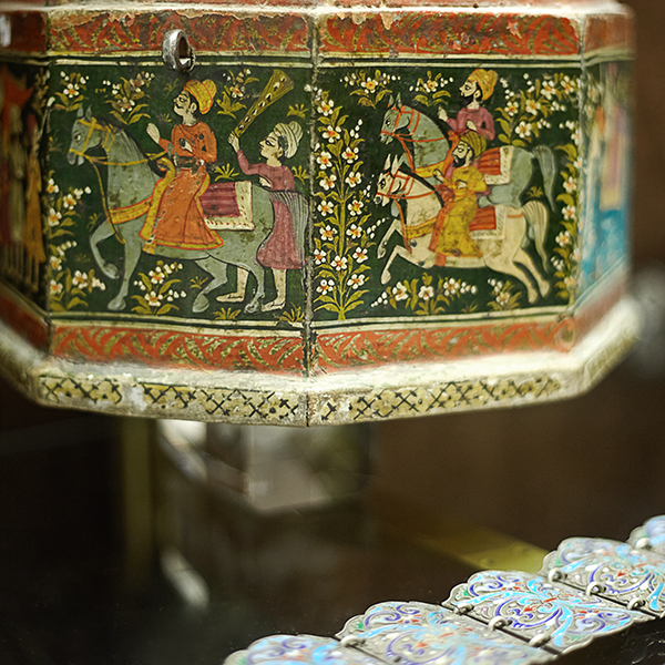 close up of Indian painted box
