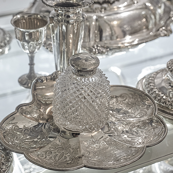 close up of antique silver