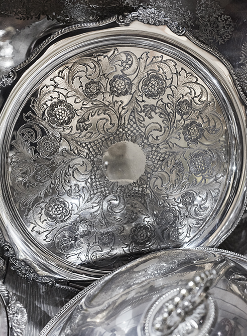 close up of Indian silver