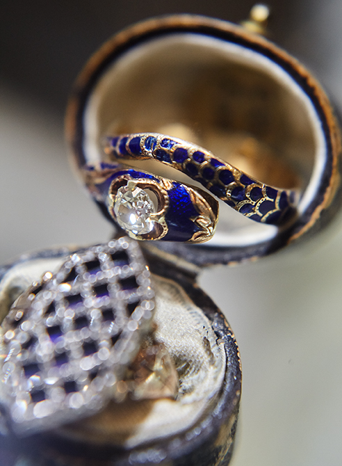 Blue enamel diamond serpent ring
