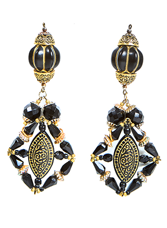 blacked beaded earrings
