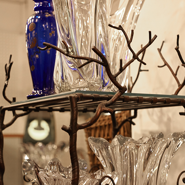 various vintage and antique glass pieces