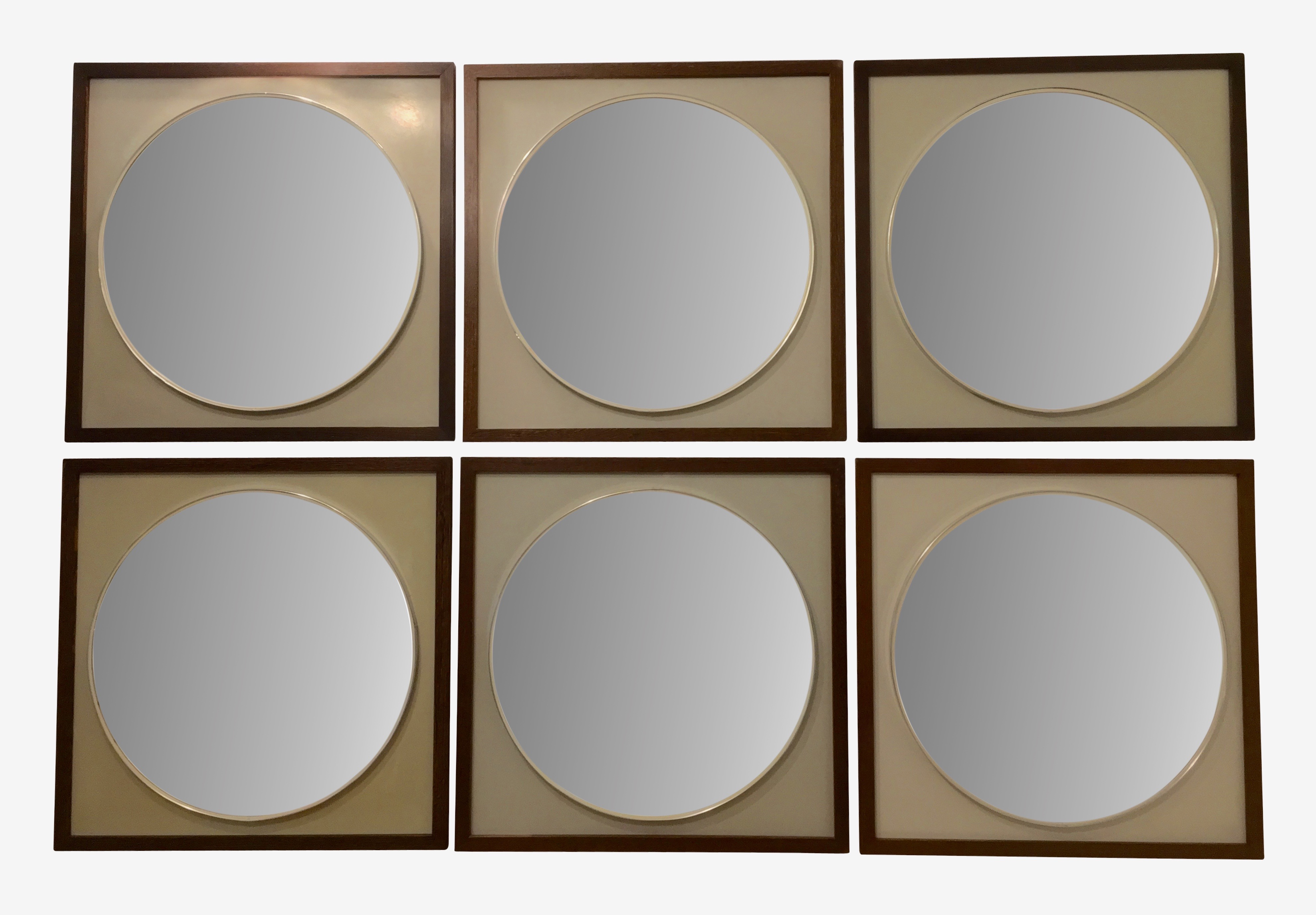 6 Macassar wood mirrors