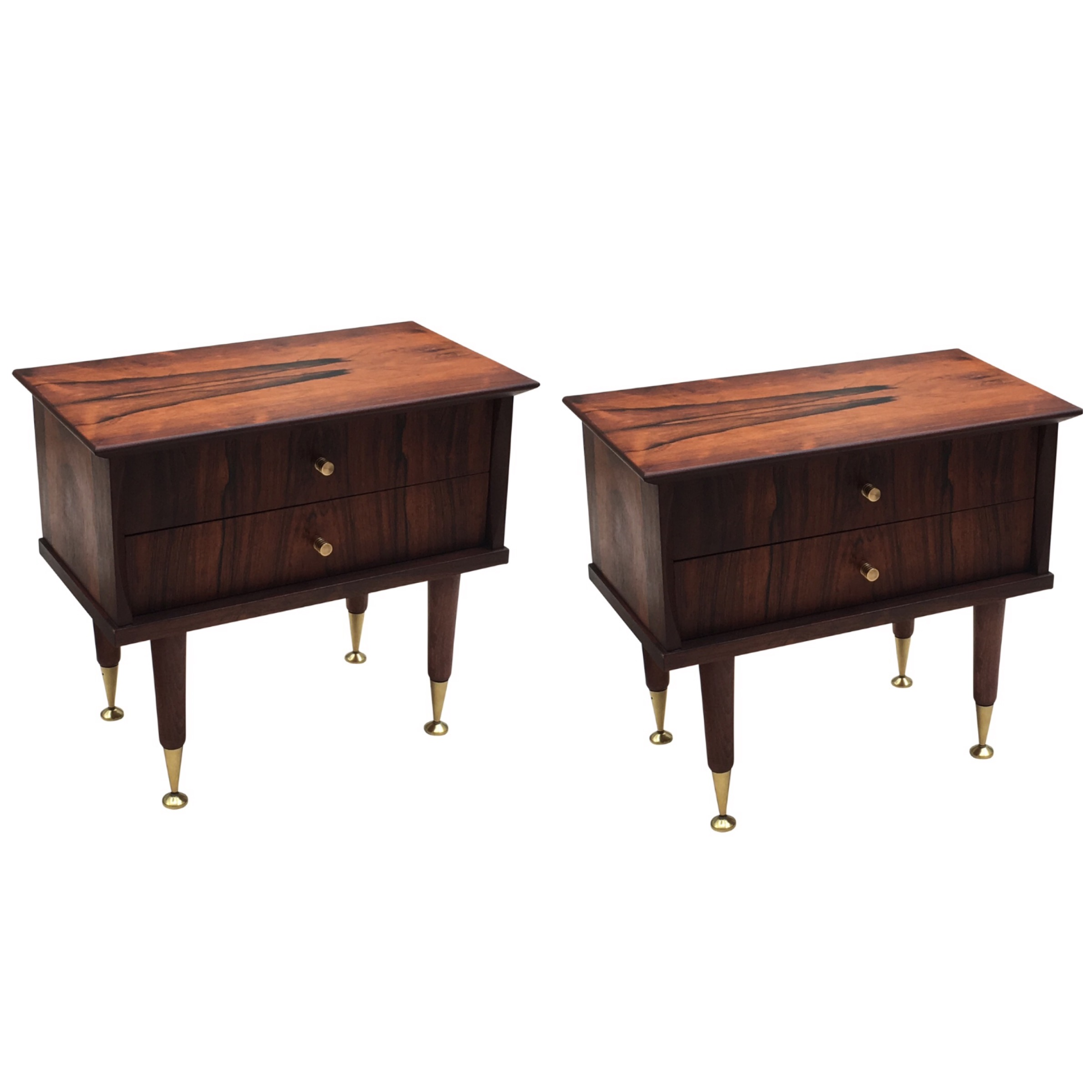 Rosewood bedside tables with 2 drawers each