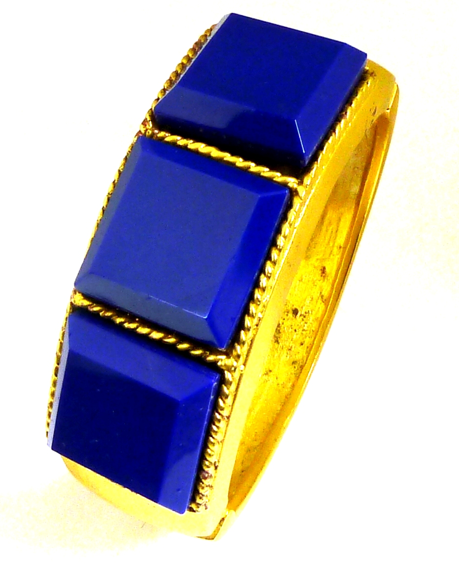 KJL blue stones hinged bangle