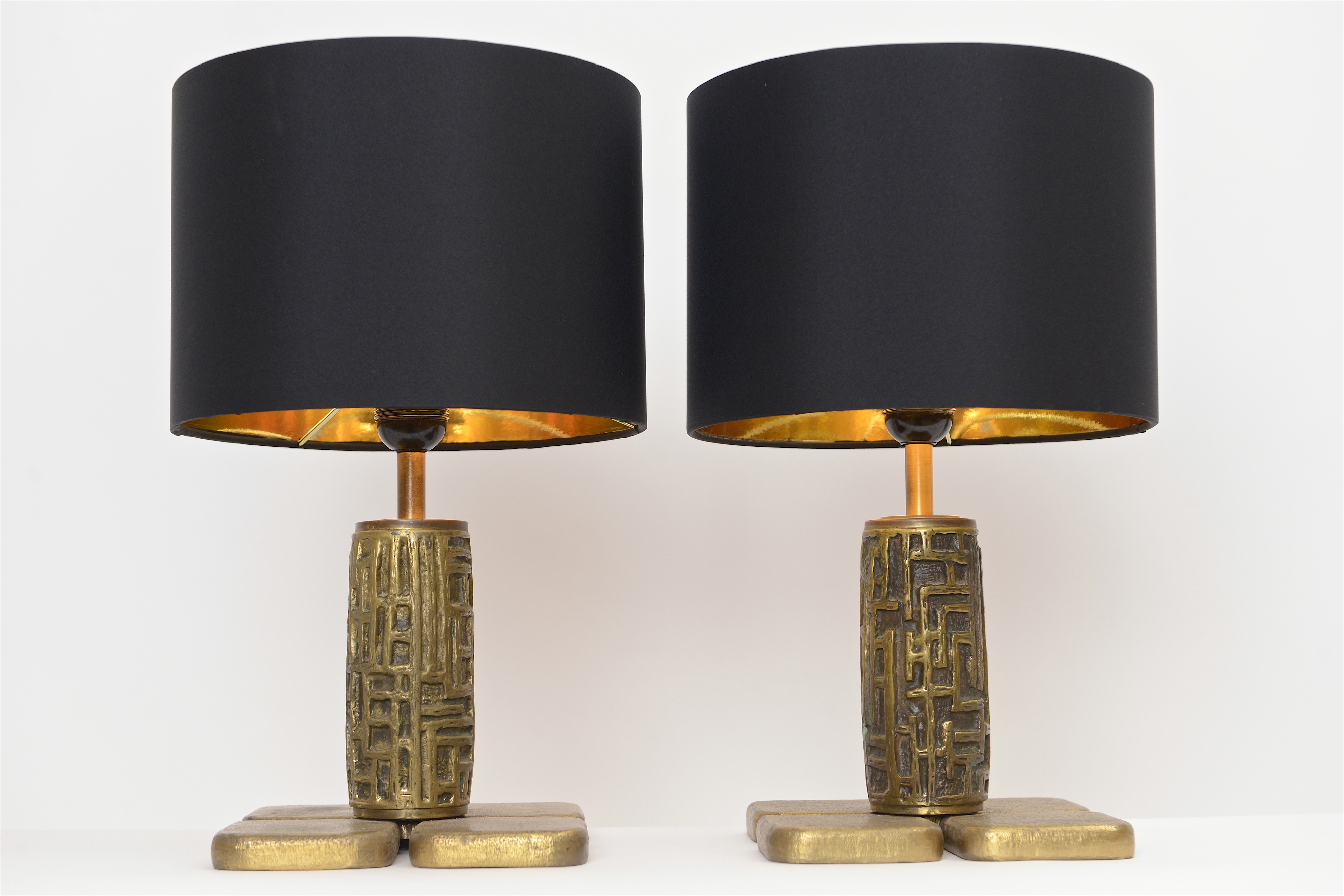 Pair of abstract bronze table lights