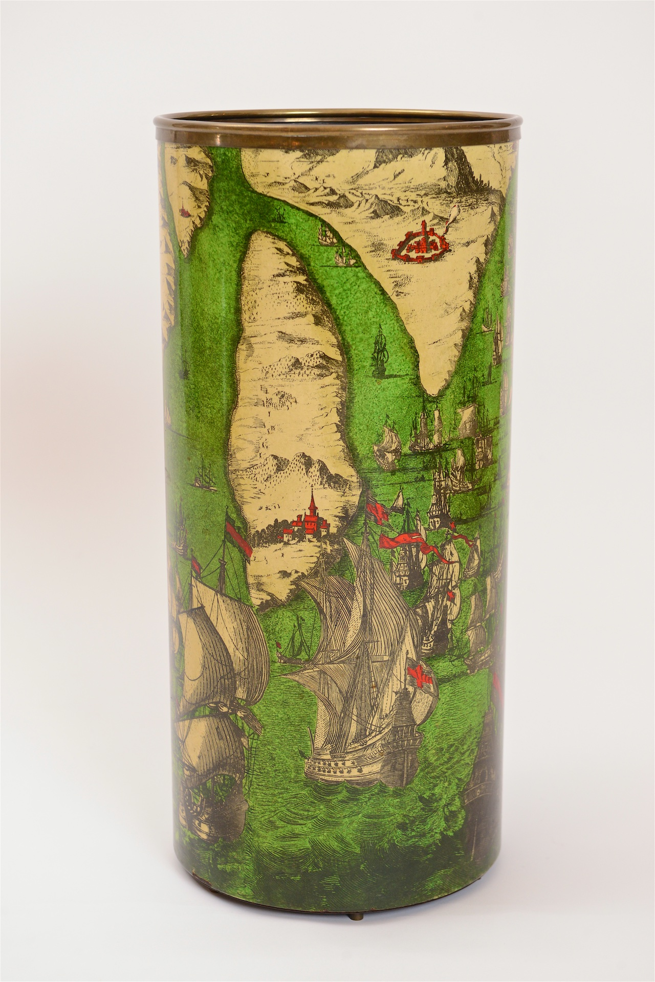 Fornasetti umbrella stand with naval battle motif