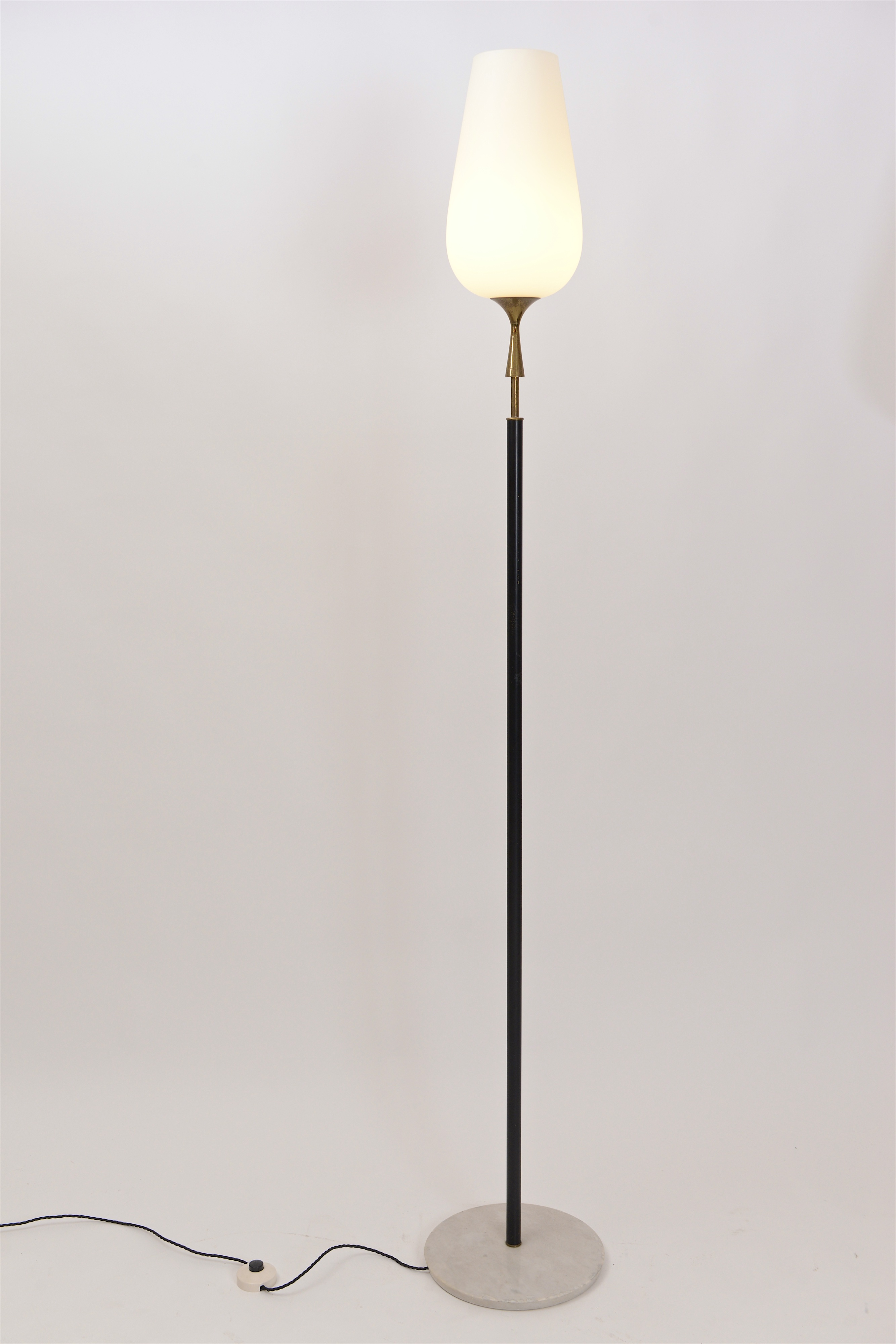 Opaline glass floor lamp by Arredoluce