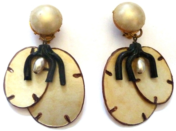 faux mother of pearl and black coral clip earrings
