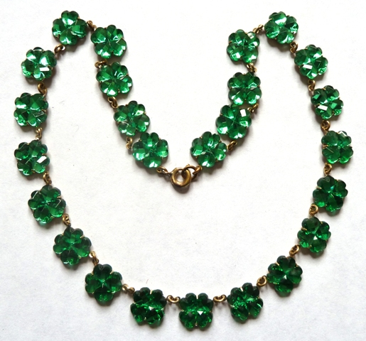 green mirror glass necklace