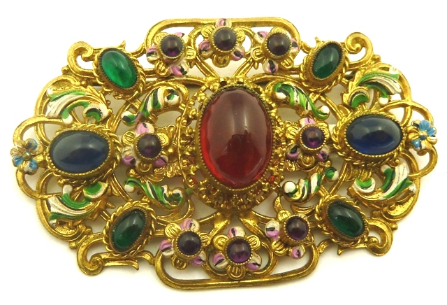 Czech brooch glass stones