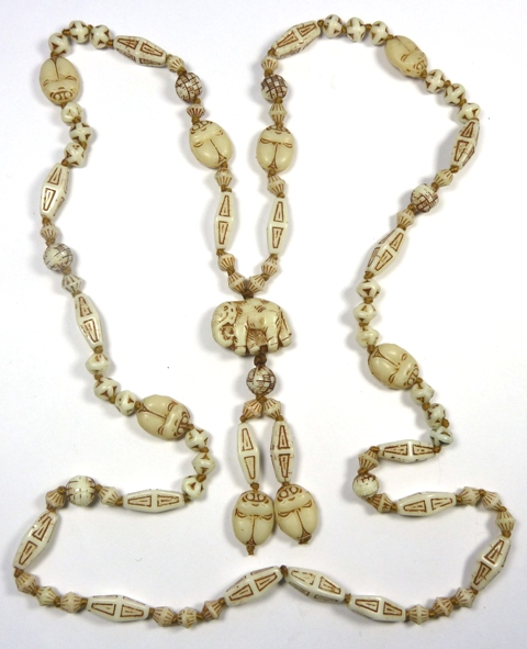Neiger white Egyptian Revival beads necklace