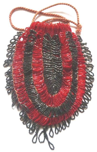 BLACK RED 1920S BEADED BAG