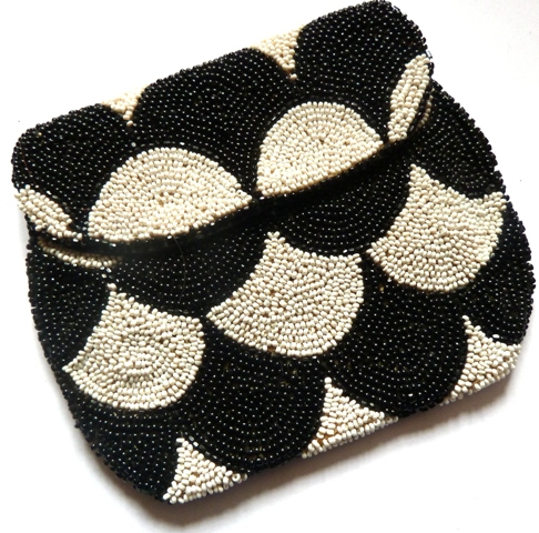 black white art deco beaded bag